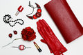 Flat lay feminini red clothes and accessories collage on white background.