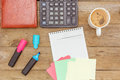 Flat lay: green tea and writing in a notebook Royalty Free Stock Photo