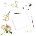 Flat lay sketchbook watercolor brush office tools rose flowers Royalty Free Stock Photo