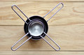 Flat lay of stainless steel measuring cups Royalty Free Stock Photo