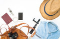 Flat lay of Traveler`s items, Essential vacation accessories Royalty Free Stock Photo