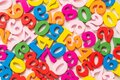 Flat lay of wooden colorful numbers background Royalty Free Stock Photo
