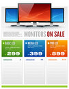 Flat LCD Monitor Display Sale Brochure vector Stock Photo