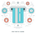 Flat line Business Concept Credit Card Payment. Vector illustration. Modern thin linear stroke vector icons. Royalty Free Stock Photo
