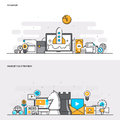 Flat line color concept- Startup and Marketing Strategy