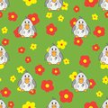 Flat line color vector seamless pattern cute animal for baby products - duck. Cartoon style. Childrens doodle. Flowers