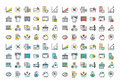 Flat line colorful icons collection of banking and e-banking Royalty Free Stock Photo
