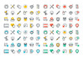 Flat line colorful icons collection of dental services Royalty Free Stock Photo