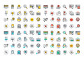 Flat line colorful icons collection of online shopping symbols e commerce and m commerce services discount for products payment Royalty Free Stock Images