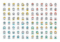 Flat line colorful icons collection of people avatars