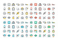 Flat line colorful icons set of healthcare and medicine