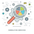 Flat line Consulting Services Concept Vector illustration. Modern thin linear stroke vector icons.