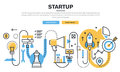 Flat line design concept for business startup process