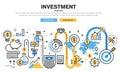 Flat line design concept for global investment finance banking market data analytics strategic management money growth financial Stock Image