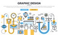 Flat line design concept for graphic design workflow process Royalty Free Stock Photo