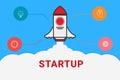 Flat line design concept for Start up. Flat rocket. Business start up.