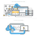 Flat line design concepts for big data architecture and cloud computing Royalty Free Stock Photo