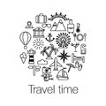 Flat line design graphic image concept website elements layout of time to travel travel time poster with sun helicopter mounta Royalty Free Stock Photos