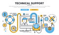Flat line design vector illustration concept for technical support Royalty Free Stock Photo