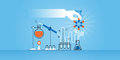 Flat line design website banner of medical research, laboratory, science, pharmacy