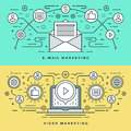 Flat line E-mail and Video Marketing Concept Vector illustration. Modern thin linear stroke vector icons.
