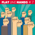 Flat line hands vector hand style design the fist illustrates the protest resistance strike revolution for web print Royalty Free Stock Images