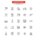 Flat Line Icons- Banking and finance Royalty Free Stock Photo