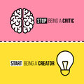 Flat line icons of brain and light bulb. Critic vs Royalty Free Stock Photo