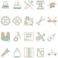 Flat line icons collection of sewing items
