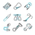 Flat Line Icons For Rock Climb...