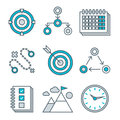 Flat line icons set of competitive advantage Royalty Free Stock Photo