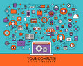 Flat line icons set. Creative design elements for websites Royalty Free Stock Photo