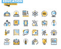 Flat line icons set of education process Royalty Free Stock Photo