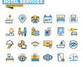 Flat line icons set of hotel service facilities Royalty Free Stock Photo