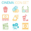Flat line icons set of professional film Royalty Free Stock Photo