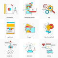 Flat line icons set of Technology and Development Royalty Free Stock Photo