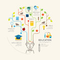 Flat line infographic education people and pencil tree outline concept vector illustration Stock Image