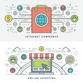 Flat line Internet Commerce and Online Shopping. Vector illustration. Royalty Free Stock Photo