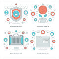Flat line Internet Security, Financial Growth, Banking Services, Business Concepts Set Vector illustrations. Royalty Free Stock Photo