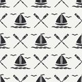 Flat line monochrome vector seamless pattern ocean boat with sail, paddle. Cartoon retro style. Regatta. Seagull. Summer