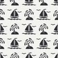 Flat line monochrome vector seamless pattern ocean boat, sail, palm, island. Cartoon retro style. Regatta. Seagull Royalty Free Stock Photo