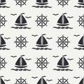 Flat line monochrome vector seamless pattern ocean boat, sail, steering wheel. Cartoon retro style. Regatta. Seagull Royalty Free Stock Photo