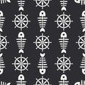 Flat line monochrome vector seamless pattern ocean fish bone, skeleton with steering wheel. Retro cartoon style. Skull Royalty Free Stock Photo