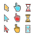 Flat line pixel cursors icon, mouse hand arrow hourglass Royalty Free Stock Photo