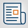Flat line report icon. Laconic blue and orange lines on gray background. Isolated vector object Royalty Free Stock Photo