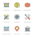 Flat line simple icons set. Thin linear stroke Royalty Free Stock Photo