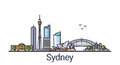 Flat line Sydney banner Royalty Free Stock Photo