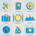 Flat line tourism icons set. Modern design style