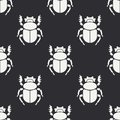 Flat line vector seamless pattern wildlife fauna bug, scarab. Simplified retro cartoon style. Insect. Beetle. Entomology Royalty Free Stock Photo
