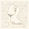 Flat linear infographic education man creative thinking with light bulb outline concept vector illustration Stock Photo